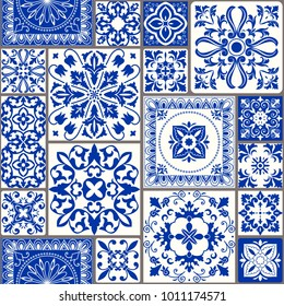 Seamless patchwork tile with Victorian motives. Majolica pottery tile, blue and white azulejo, original traditional Portuguese and Spain decor. Vector illustration