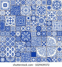 Seamless patchwork tile with Victorian motives. Majolica pottery tile, blue and white azulejo, original traditional Portuguese and Spain decor. Vector illustration.