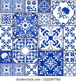 Seamless patchwork tile with Victorian motives. Majolica pottery tile, blue and white azulejo, original traditional Portuguese and Spain decor. vector.