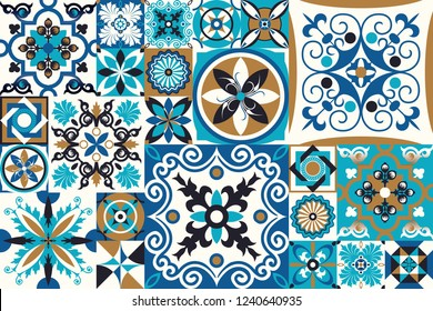 Seamless patchwork tile with Victorian motives. Majolica pottery tile, blue and white azulejo, original traditional Portuguese and Spain decor. vector