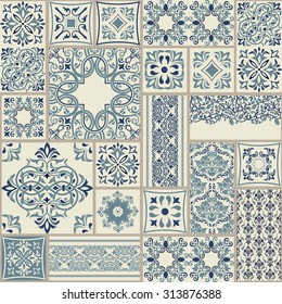 seamless patchwork tile with Victorian motives in blue and beige