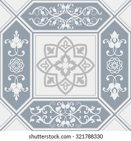 seamless patchwork tile with Victorian motives in blue and gray