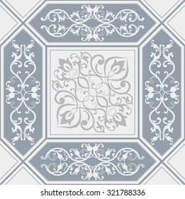 seamless patchwork tile with Victorian motives in blue and grey