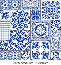 Seamless patchwork tile with Victorian motives. Majolica pottery tile, blue and white azulejo, original traditional Portuguese and Spain decor