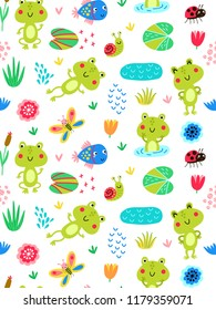 Seamless patten with frogs