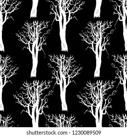 Seamless patten of trees silhouettes