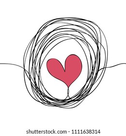 Seamless patter of heart in doodle lined circle