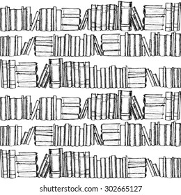 Seamless patterh with hand drawn graphic old books.