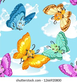 Seamless patterm with colorful cute little Butterfly on a blue sky background