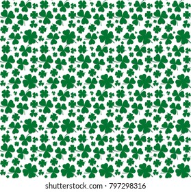 Seamless Pattern. 3 and 4 leaved clover. St Patrick's day. Transparent Shadow