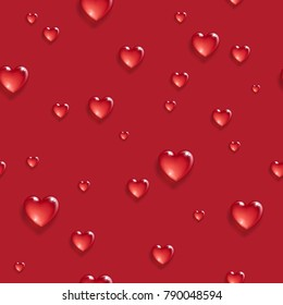 Seamless pattern with 3d hearts. Valentine's day background. Vector illustration.