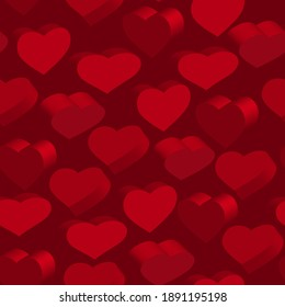 Seamless pattern with 3D red hearts. Vector clipart. Red background.