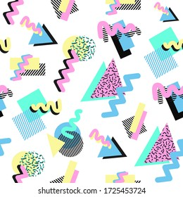 Seamless pattern in 80s style. Retro shapes composition. Vector EPS 10.
