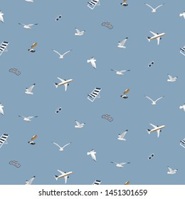 Seamless pattern about summer holiday. Airplane, seagulls, chaise, sunglasses, slippers, a hat of white, blue, brown on a blue background. Vector illustration