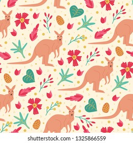 Seamless pattern with abstact floral shapes and australian animal kangaroo in flat style. Colorful bright endless texture with plant: leaves and flowers on light background. Vector illustration