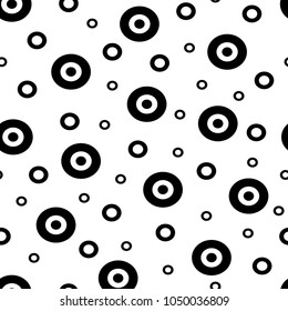 Seamless pattern. Abstract background with black and white circles