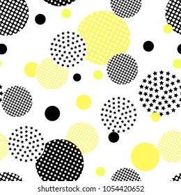 Seamless pattern. Abstract background with circles and lines. Black and yellow