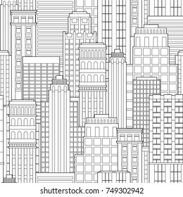 Seamless pattern abstract background of city landscape skyscrapers. Outline flat vector illustration for poster, banner, greeting card. Black and white