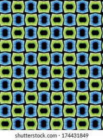 seamless pattern of abstract blue and green elements on black background