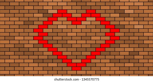 Seamless pattern of the abstract brick wall and heart symbol