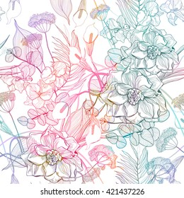 Seamless pattern with abstract bright flowers. Vector, EPS10.