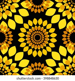 Seamless pattern with abstract bright yellow sunflowers on black background. Use for print and web products: cards, banners, tags.