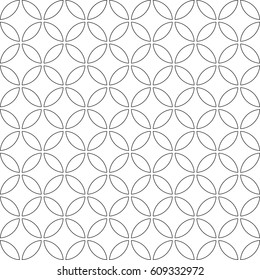 Seamless pattern. Abstract circle pattern on white background. Modern stylish texture with regularly repeating geometrical shapes,  circles, Vector element of graphical design