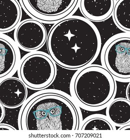 Seamless pattern with abstract circles and cute hipster owls in retro glasses.  Vector background of night sky and romantic birds in design elements.