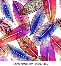 Seamless pattern with abstract colorful feathers. Vector, EPS10.