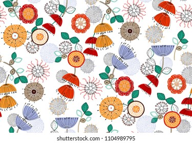 Seamless pattern abstract colorful flowers algae