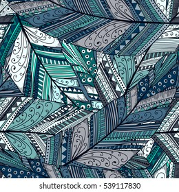 Seamless pattern with abstract feather.Hand draw illustration