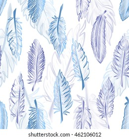 Seamless pattern with abstract feathers. Vector illustration. EPS 10