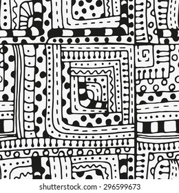 Seamless pattern with abstract figures. Indian, Asian, Ethnic, zentangle, floral  doodle. Black and white background. Stock vector. Tribal