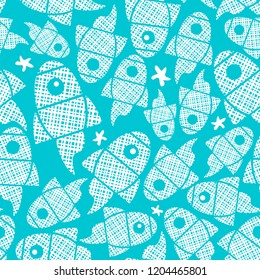 Seamless pattern with abstract fishes in the blue sea. Vector endless pattern.