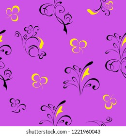 seamless pattern with abstract floral pattern in black lines and yellow flowers on lilac background