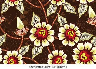 Seamless pattern with abstract floral, Indonesian batik motif, flower vector illustration