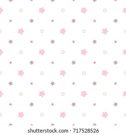 Seamless Pattern of Abstract Flower Design on White Background