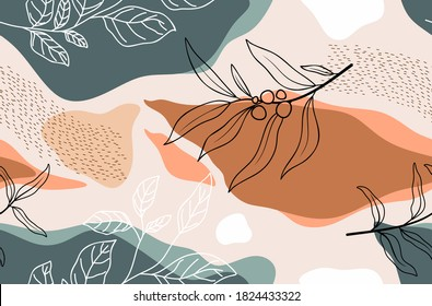 Seamless pattern with abstract flowers and leave. Creative floral surface design. Vector background