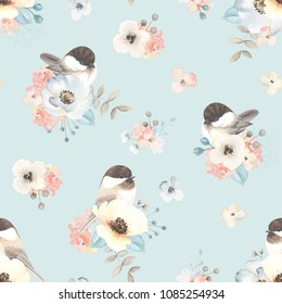 Seamless pattern with abstract flowers, leaves, brances and birds Chickadee in vintage watercolor style. Vector floral illustration on turquoise background.