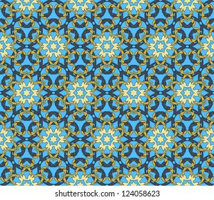 Seamless pattern with abstract flowers and stars in grey, blue, gold
