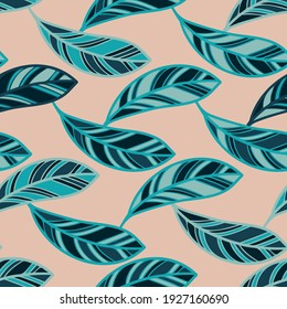 Seamless pattern with abstract geometric feather shapes in blue and green tones on pastel background. Can be used for textile, stationary, backgrounds and wallpaper, wrapping paper.
