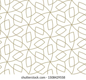 Seamless pattern with abstract geometric line texture, gold on white background. Light modern simple wallpaper, bright tile backdrop, monochrome graphic element.