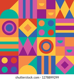 seamless pattern abstract geometric semicircle circle square triangle stripe blue green red yellow pink purple orange vector background wallpaper textile giftwrap