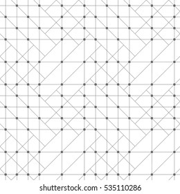 Seamless pattern. Abstract geometrical background. Original linear techno texture with repeating thin lines, dots. Vector element of Business concept
