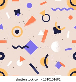 Seamless pattern with abstract geometrical shapes. Trendy colorful retro background with geometric figures. Stylish wallpaper or fabric print. Flat vector textured repeatable backdrop
