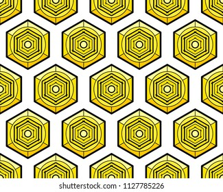 Seamless pattern of the abstract hexagonal cell elements