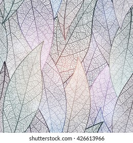 Seamless pattern with abstract leaf, colorful leaves background. Vector, EPS10.