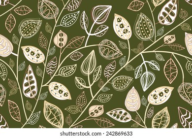 Seamless pattern  with abstract leaves