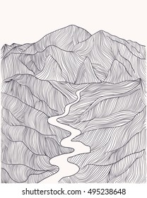 seamless pattern abstract  with linear drawing of graphic mountains  landscape. Stock  vector illustration. Line art