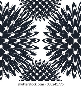 Seamless pattern with abstract lotus flowers in black and white.  Floral abstract monochrome repeating background.